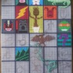 cross-stitch dinosaurs and comic books