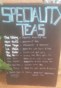 Mordic Cafe speciality teas board