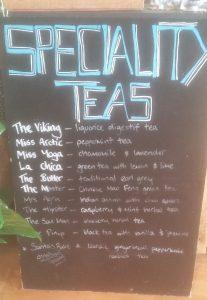 Mordic Cafe speciality teas board