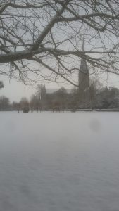 Snow at Salisbury cathedral
