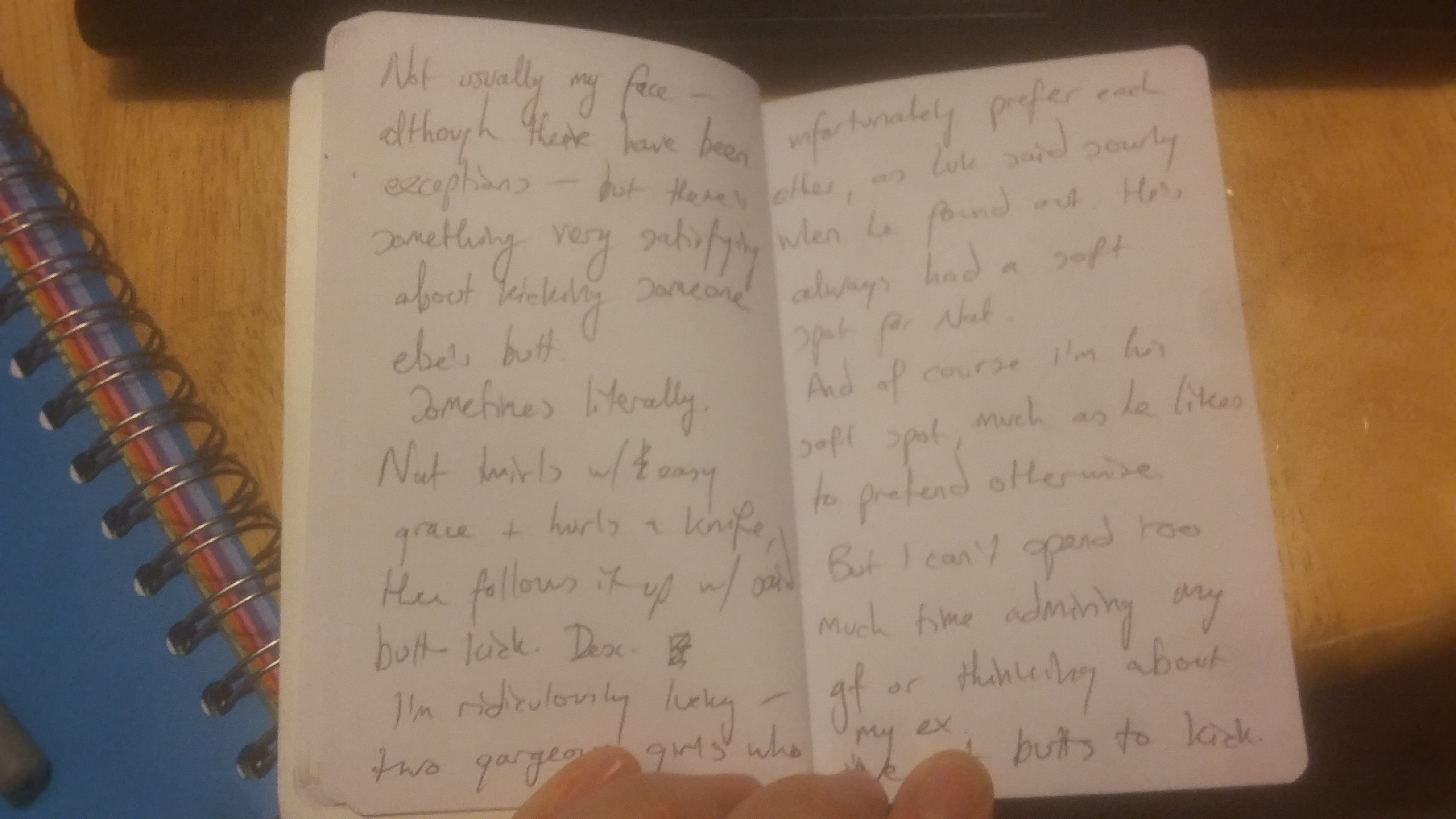Notebook with scribbled writing