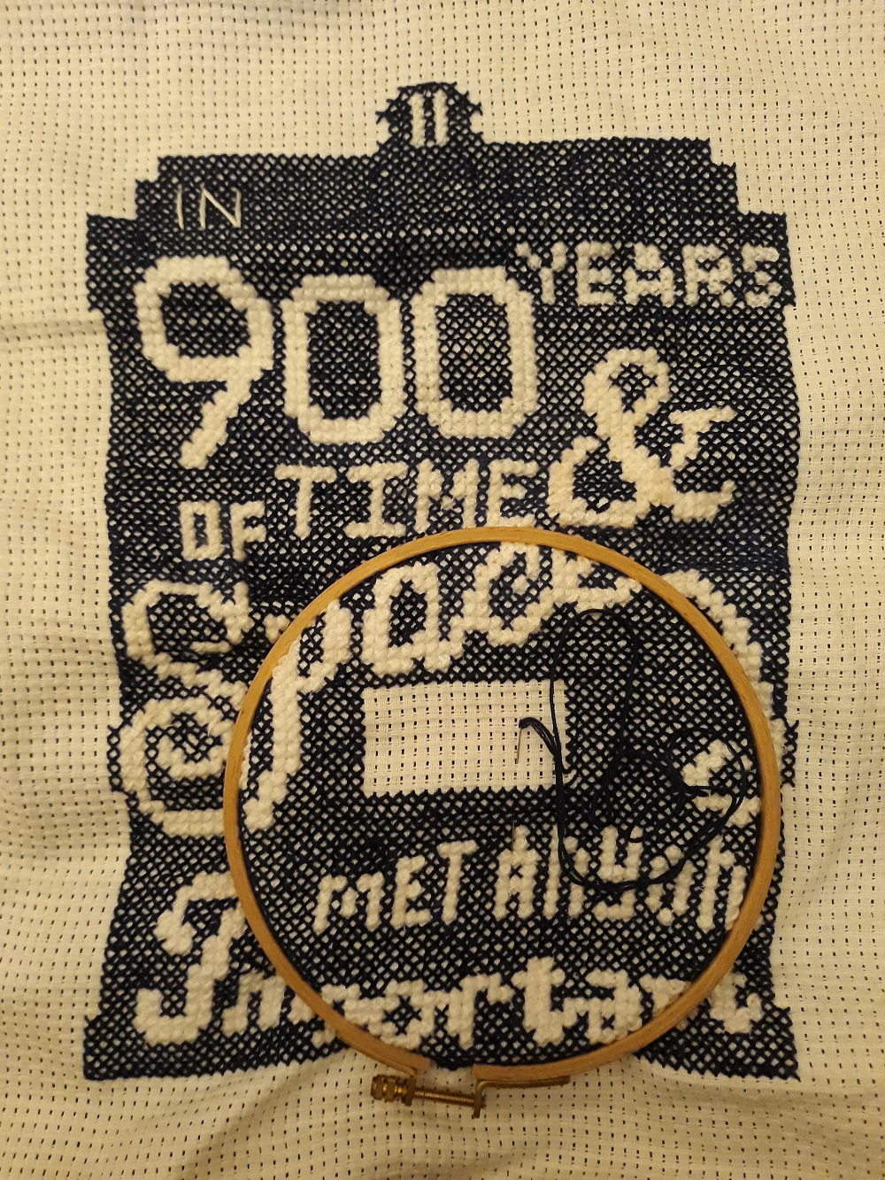 Dr Who quote - crossstitched