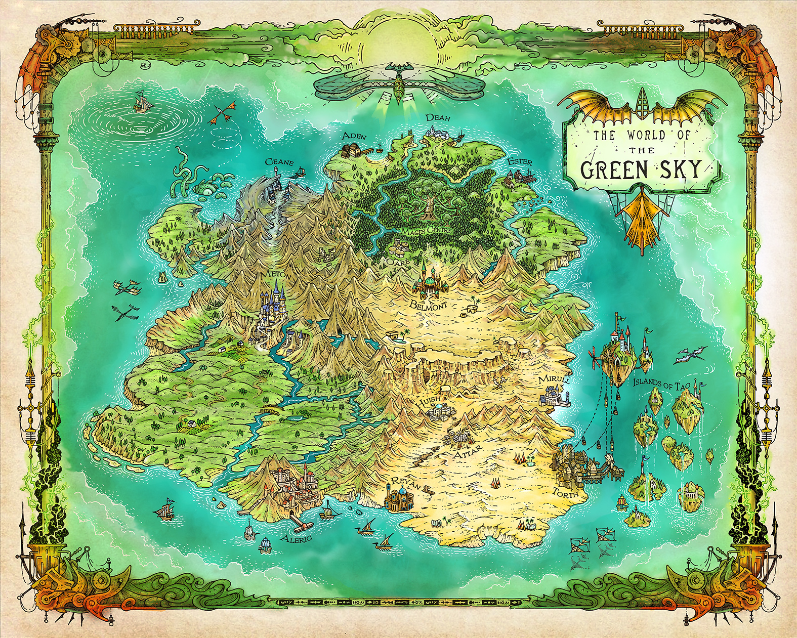 Colour map of the Greensky Fantasy world