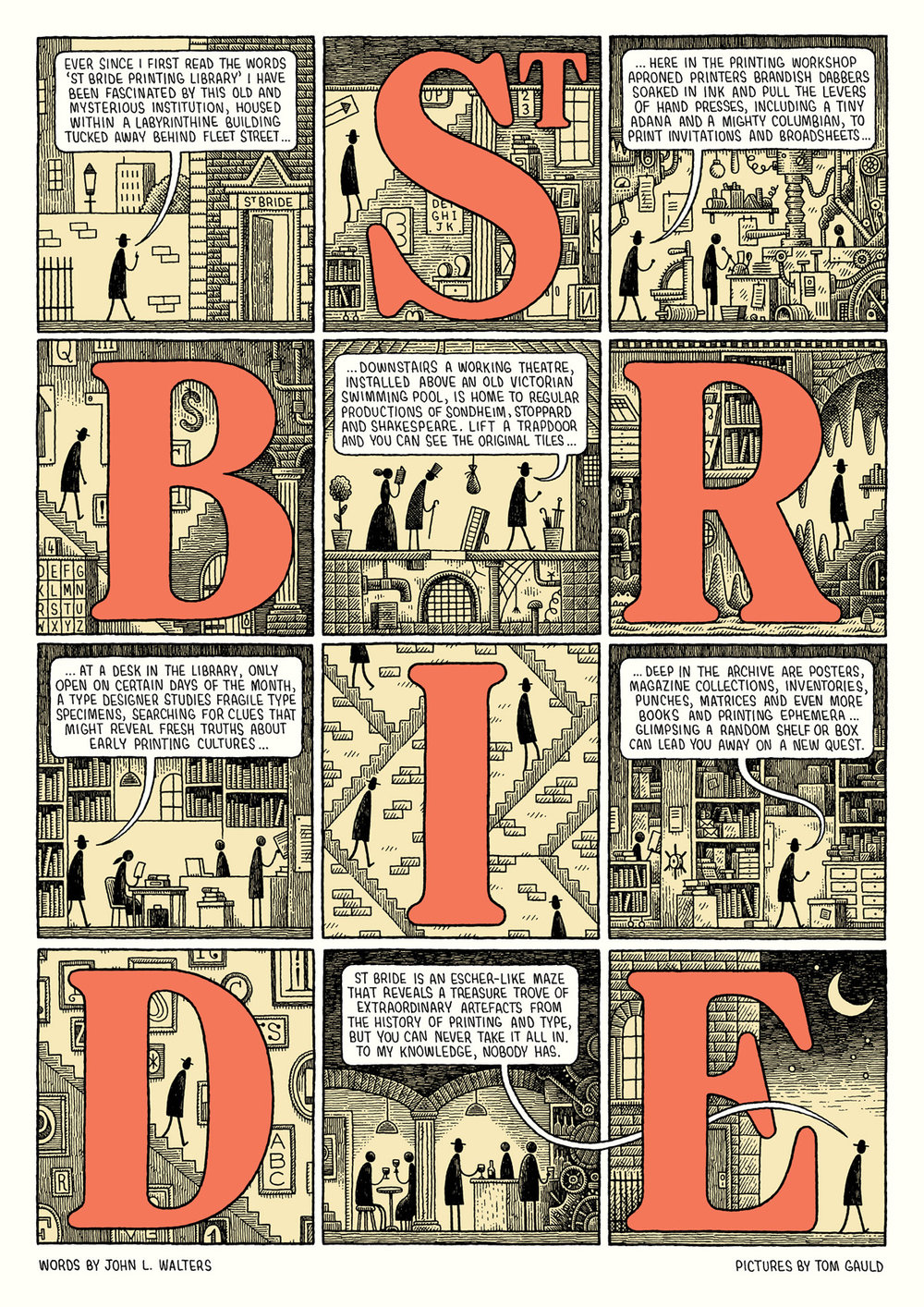 A description of St Brides printing library, with text overlaid on cartoon images