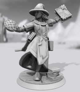 Minature figurine of a witch with a pie in one hand, book in the other and piles of books at her feet
