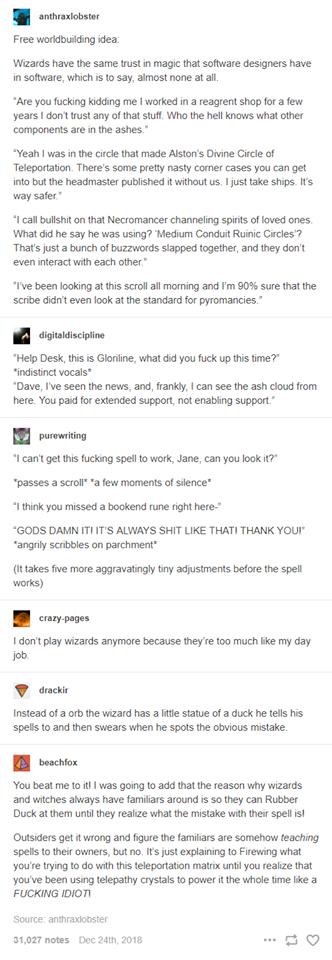 Magical tech support conversation