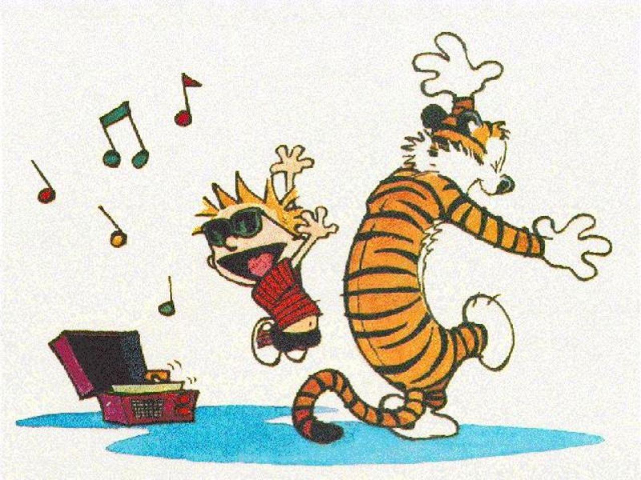 Calvin & Hobbes dancing