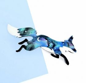 Leaping fox with blue-stars cosmic colouring